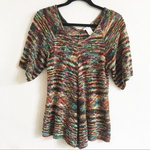 Isela Knit Crochet Shirt Rainbow V-Neck Tunic Top